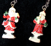 Miniature Resin SANTA CLAUS EARRINGS - Christmas Holiday Old-World Costume Jewelry -C