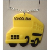 SCHOOL BUS PENDANT NECKLACE-Funky Driver Charm Teacher Jewelry