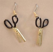 Mini Sewing Charm SCISSORS EARRINGS - Black & Gold Sew Scrapbook Jewelry