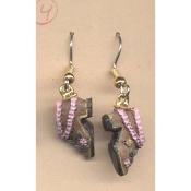BROWN & PINK SHOES EARRINGS - Vintage-look Mini Resin Collector DIY Jewelry - Teeny, tiny, funky footwear charm