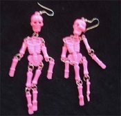 Huge Punk SKELETON EARRINGS - Dangle, wiggly Goth Party Skull Charm Jewelry -PINK