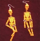 Huge Punk SKELETON EARRINGS - Dangle, wiggly Goth Party Skull Charm Jewelry -ORANGE