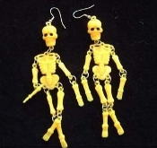 Huge Punk SKELETON EARRINGS - Dangle, wiggly Goth Party Skull Charm Jewelry - YELLOW