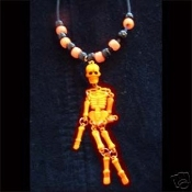 SKELETON PENDANT NECKLACE-Jointed Gothic Punk Pirate Jewelry-ORG
