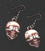 Realistic Rhinestone SKULL EARRINGS - Headhunter Witch Doctor Halloween Pirate Charm Jewelry