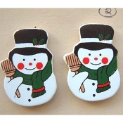 Funky SNOWMAN BUTTON EARRINGS - Frosty Winter Holiday Christmas Theme Painted Country WOOD Charm Stud Post Novelty Costume Jewelry - Approx. 1-3/8-inch (3.44cm) Tall