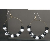 "SOCCER BALL 2"" HOOPS EARRINGS - Funky Coach Team Mom Gift Jewelry"