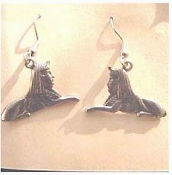 SPHINX EARRINGS - Egyptian Egypt Pyramid - Charm Jewelry - Genuine pewter, DOUBLE-SIDED, Dimensional Charm.