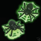Huge 3-d GLOW-in the-Dark SPIDER & WEB Button EARRINGS - Halloween Costume Jewelry