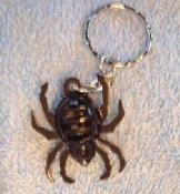 BLACK WIDOW SPIDER BELL KEYCHAIN - Halloween Wicca Punk Costume Jewelry