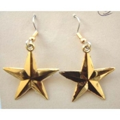 STAR EARRINGS - Patriotic Support Our Troops Jewelry - Large GOLD
