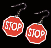 Huge STOP SIGN EARRINGS - Crossing Guard Police Jewelry - STOP... in the Name of LOVE !!!