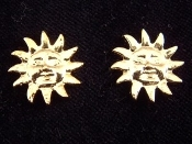 Sun Face - Gold-tone Button Post Earrings