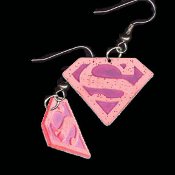 Huge Funky S-Logo SUPERGIRL EARRINGS - Dangle Collectible Costume Jewelry - BIG Dimensional PINK Metallic Plastic Charm. Every comic book Super-Hero Diva Heroine nostalgia collector should wear these!