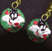 Funky Mini SYLVESTER CAT HOLLY WREATH EARRINGS Christmas Holiday Novelty Costume Jewelry - Miniature Luney Toons Xmas button dangle ornament - Looney Tunes Warner Bros licensed cartoon comics character painted resin charm