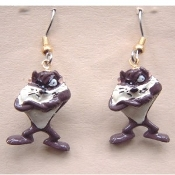 Funky Mini Figure Crazy TAZ EARRINGS - Looney Tunes Novelty Costume Jewelry - Tasmanian Devil favorite crazy wild cartoon comics character dangle charm - Warner Bros Luney Toons licensed miniature rubbery plastic ornament fully dimensional figurine.