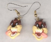 Funky Mini TAZ TASMANIAN DEVIL HEADS EARRINGS - Warner Bros Looney Tunes Dimensional Crazy Wild Cartoon Character Comics Charm Novelty Costume Jewelry - Colorful Double-Sided Face Miniature Resin Ornament Charms.
