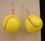 Big Yellow TENNIS BALLS SOFTBALL EARRINGS - Racket Ball Game Charm Jewelry