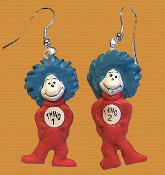 Funky Mini CAT in the HAT - THING 1 & THING 2 EARRINGS - Dr Seuss Costume Jewelry