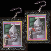 Wizard of Oz - TIN mAN WOODSMAN EARRINGS - HUGE Funky TinMan Heart Novelty Jewelry