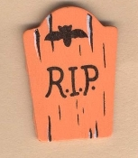Funny Gothic TOMBSTONE R.I.P. RIP PIN BROOCH - Wood Halloween Cemetery Graveyard Novelty Retirement Costume Jewelry -ORANGE