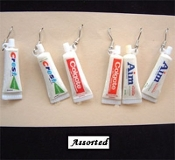 "Mini TOOTHPASTE EARRINGS - Dental Tooth Charms Vintage Dentist Jewelry - 1-pair, chosen from assorted ""brands"" as shown."