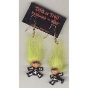Tiny TRICK-or-TROLL DOLL SKELETON with MASK EARRINGS - Russ Berrie Halloween Costume Jewelry -GREEN Hair