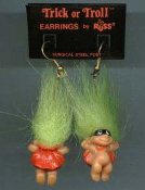 Tiny Trick-or-Troll SUPER-HERO BANDIT with MASK EARRINGS - Russ Retired Halloween Costume Jewelry -GREEN Hair