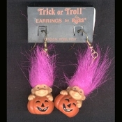 Funky Mini Retro TROLL JACK-O-LANTERN FUNKY EARRINGS - Cute Vintage Halloween Decorated Imp Pumpkin Charm - Russ Berrie Retired Collectible Trick-or-Troll Novelty Costume Jewelry - PURPLE Hair - Mini fall holiday gnome troll.
