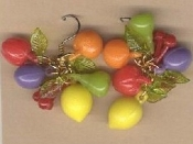 Vintage Miniature TROPICAL FRUIT EARRINGS - Dimensional Luau Beach Party Jewelry
