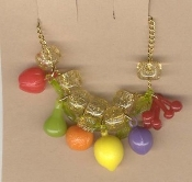 TROPICAL FRUIT NECKLACE-Mardi Gras Luau Party Food Funky Jewelry