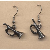 Miniature Black TRUMPET HORN BUGLE EARRINGS - Pewter Musician Musical Instrument