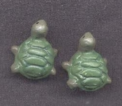 Funky Tiny TURTLE EARRINGS - Small 3-D Vintage Resin Pet TORTOISE Pond Creek River Animal Costume BUTTON STUD Novelty Costume Jewelry - Miniature Dimensional Novelty Figure charms. Great mini for any Amphibian collector!