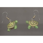 TURTLE TORTOISE EARRINGS - Turtles Jewelry - Realistic 3-d Resin amphibian charm.