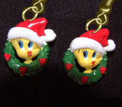 Mini TWEETY BIRD SANTA CAP EARRINGS Christmas Wreath Holiday Novelty Costume Jewelry - Miniature Luney Toons Xmas button dangle ornament