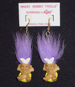 Mini collectible TROLL DOLL WACKY WABBIT Easter Bunny EARRINGS - Punk funky retro Russ Berrie little retired spring holiday novelty costume jewelry - PURPLE Hair - Miniature vintage cute lucky charm gnome rabbit trolls sitting in decorated egg.