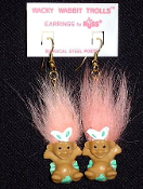 Tiny TROLL WACKY WABBIT EARRINGS - Mini Spring Easter Egg Jewelry -PEACH Hair