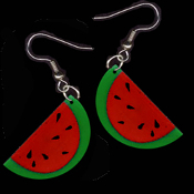 Novelty Charm WATERMELON SLICE EARRINGS - Picnic Fruit Jewelry