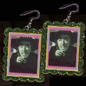 Wizard of Oz - The WICKED WITCH-of-the-WEST EARRINGS - HUGE Funky Ruby Slippers Villain Novelty Jewelry