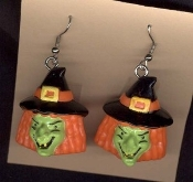 Beheaded Wicked WITCH HEADS EARRINGS - Big Scary Goth Charm Halloween Jewelry
