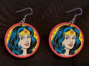 WONDER WOMAN EARRINGS - HUGE Super-Hero Amazon Heroine Cartoon Comics Charm Jewelry