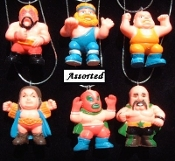 WRESTLER PENDANT NECKLACE-WWE WECW WWF-Wrestling Jewelry-HUGE-1p