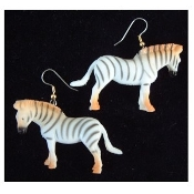 "HUGE Jungle ZEBRA TOY EARRINGS - Mini Safari Zoo Circus Novelty Charm Costume Jewelry - Large plastic miniature realistic dimensional detailed wild animal figure, approx 1-5/8"" tall x 2"" long."