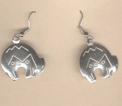 Zuni SPIRIT BEAR EARRINGS - Native-American Silver-tone engraved Metal charm. Strength & Well-Being are yours!
