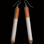 Big CIGARETTE EARRINGS - Unique Realistic Toy Play Smoking Costume Jewelry