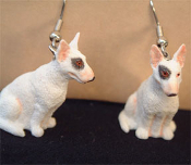 Miniature BULL TERRIER DOG EARRINGS - Mini 3D SPUDS MACKENZIE Pet Puppy Canine Jewelry