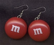Funky Huge m&m EARRINGS - Chocolate Candy Treat Junk Food Snack Charm Novelty Costume Jewelry
