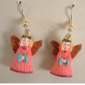 ANGEL EARRINGS - Christian Faith Charm Jewelry - Tiny PINK