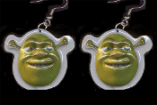 Huge Green Ogre SHREK EARRINGS - Severed Heads Animated Movie Monster Cosplay Costume Jewelry - Big Dimensional Plastic Toy Dreamworks Animation Cartoon Character Charms