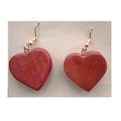 Vintage WOOD HEART EARRINGS - Hippie Valentines Day Gift Jewelry